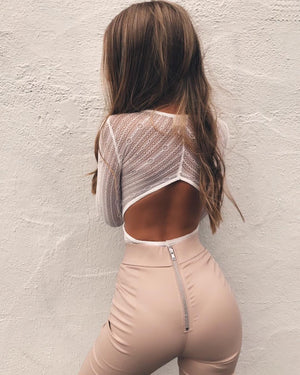 white open back bodysuit