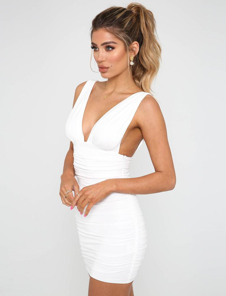 white plunge bodycon dress