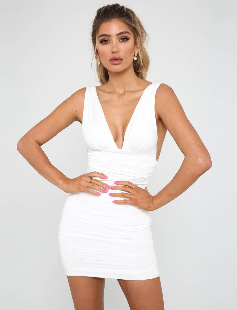 white plunge mini dress