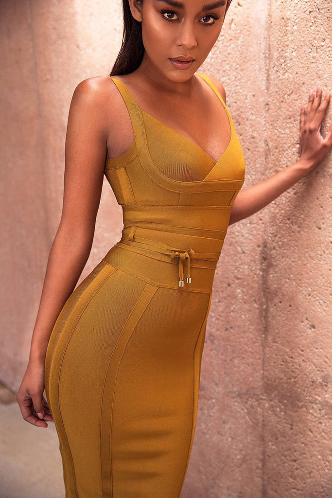 yellow bodycon dress