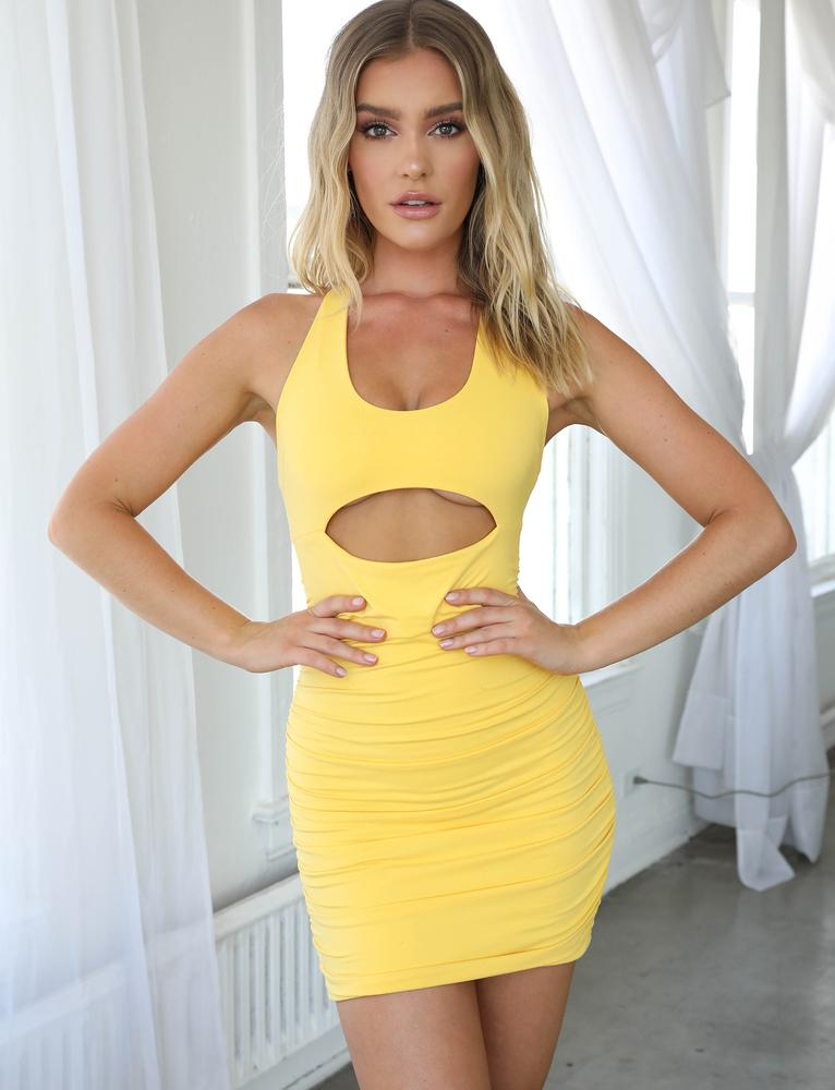 yellow cut out bodycon mini dress