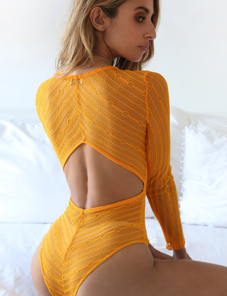 yellow mesh bodysuit