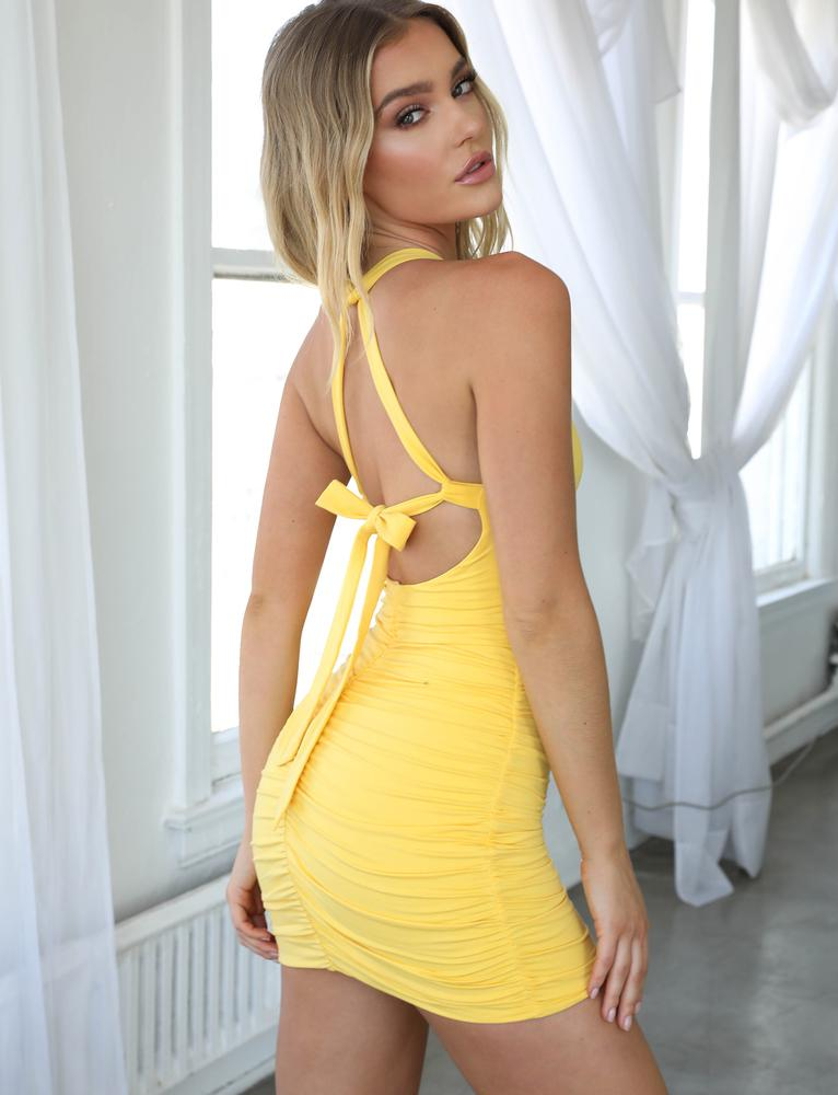 yellow tie back mini dress