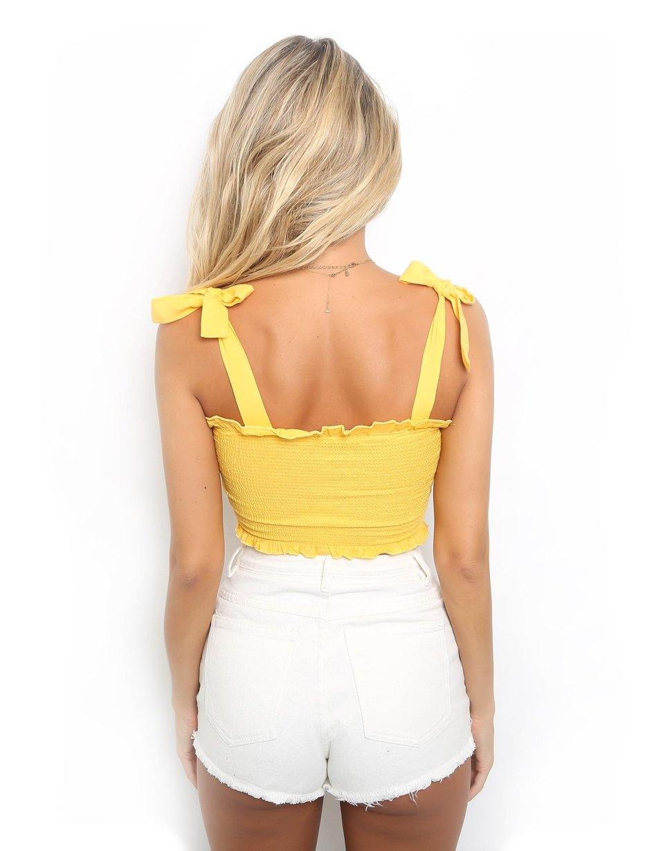 yellow tie crop top