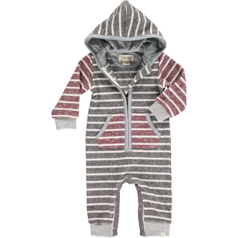 Brown Striped Hooded Romper