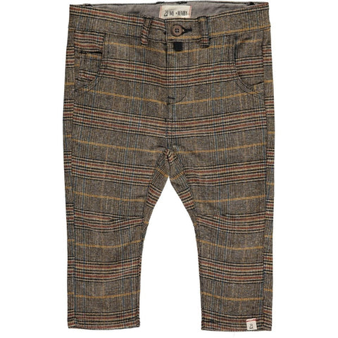 Brown Check Woven Trousers