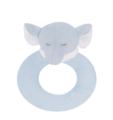 Blue Elephant Ring Rattle