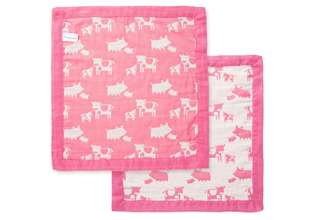 Blankie Pink Farm Animals