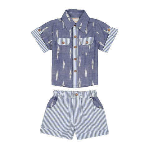 Ikat Blue 2pc Short Set