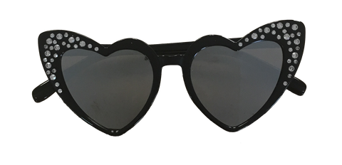 Sunglasses Black Heart Silver Mirrored Lens