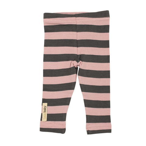 Mauve and Gray Stripe Organic Leggings