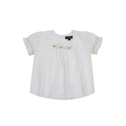 Peggy White and Gold Eyelet Top