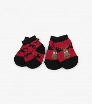 Moose on Red Baby Socks