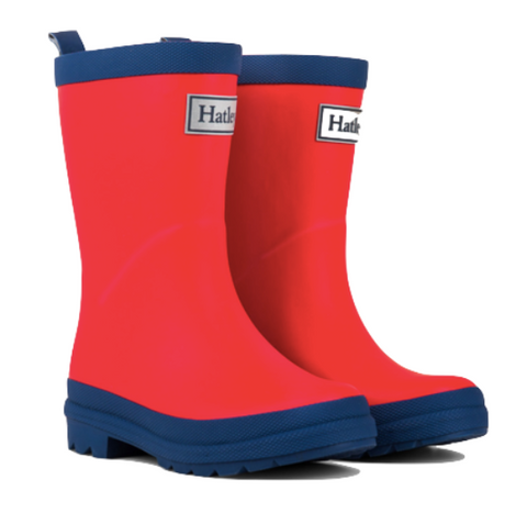 Red and Navy Matte Rain Boots