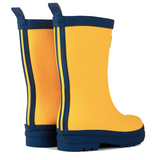 Yellow and Navy Matte Rain Boots