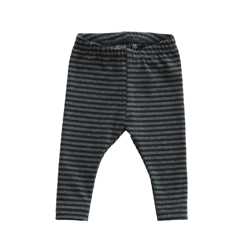 Charcoal and Black Stripe Bamboo Leggings