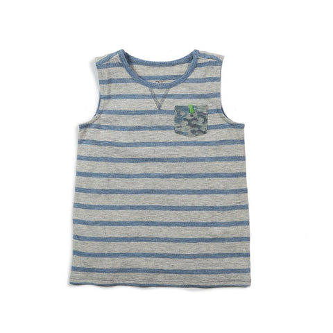 Blue Stripe Muscle Tank