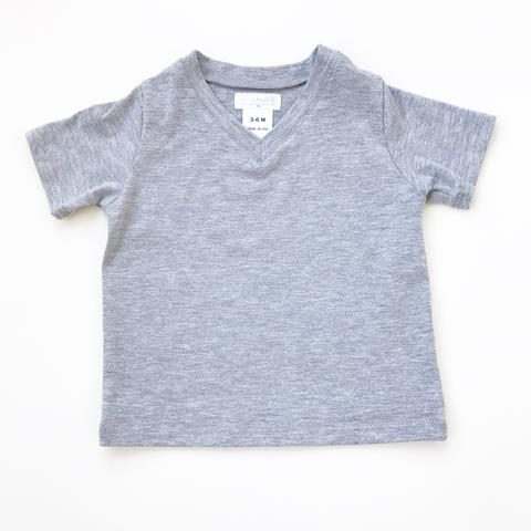 Gray Short Sleeved V-Neck
