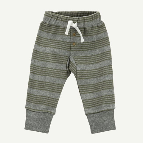Olive Green and Heather Gray Stripe Jogger Pant