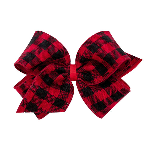 King Clip-on Bow Holiday Plaid