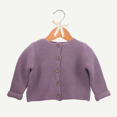 Plum Sweater-Knit Cardigan