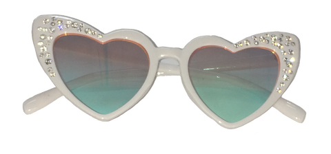 Sunglasses White Heart Multi Colored Mirrored Lens