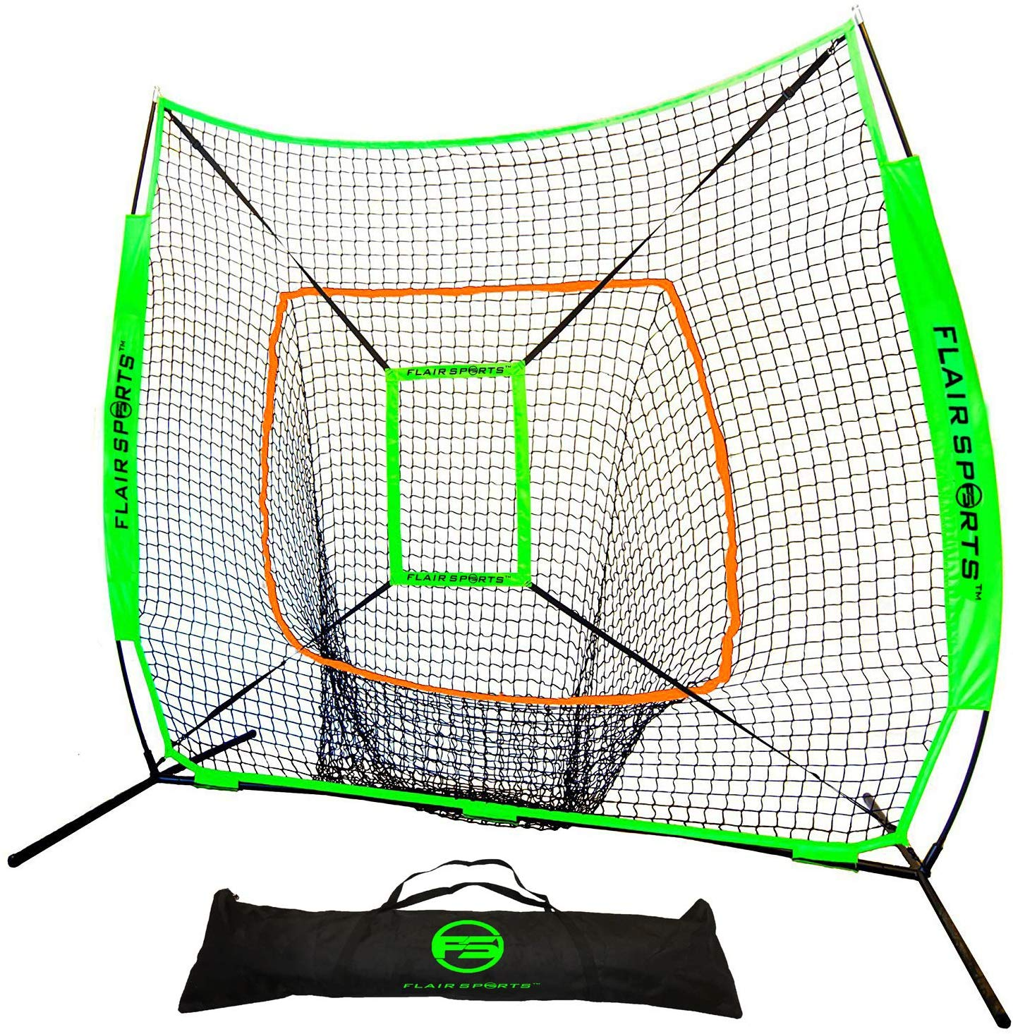 Baseball / Softball Net for Hitting & Pitching 7' x 7' - Neon Orange / Neon Green
