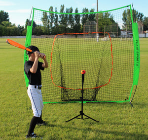 Flair Sports - Pro Series - Portable Compact Travel Hitting Tee for Baseball/Softball - Training Batting Tee for All Ages - Bonus - 3 Weighted Balls