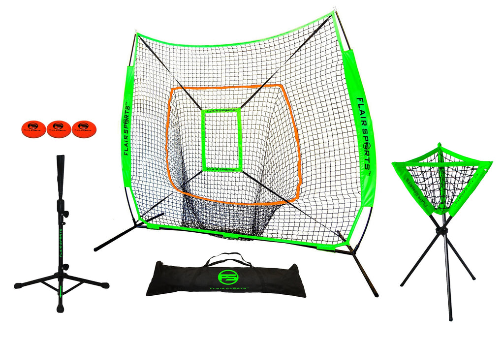 Flair Sports Baseball & Softball Net for Hitting & Pitching - Includes Ball Caddy / Tee / 3 Weighted Balls / Strike Zone