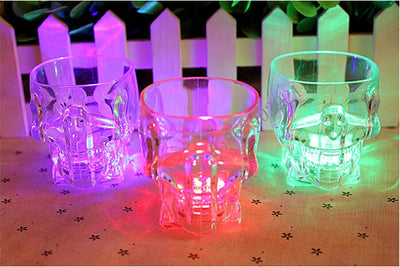 Cool LED Flashing Whiskey Skull Shot Glass, Drink Wine Coffee Beer Whisky Water Induction Light Up Mug/Cup for Glow Bar Party