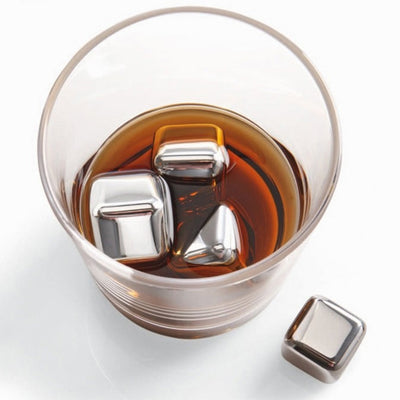 FREE Reusable Stainless Steel Whiskey Ice Cube Chiller New Quality Stone Rocks Drink Whisky Wine Beer Party and Bar Gift