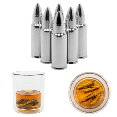 Reusable Bullets x6 Shaped Stainless Steel Whisky Coolers Ice Cube Stones For Party And Bar