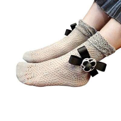 Cool Fishnet Ankle Bowtie Socks Fashion Women Ruffle Mesh Lace Fish Net Short Socks