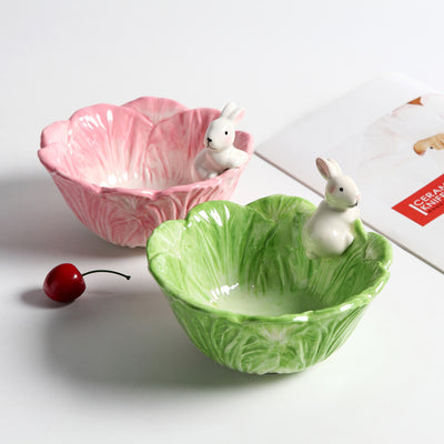 Ceramic Rabbits Bowl Cabbage-style Dishes Rabbits Plate Fruit Salad Bowl Tableware Home Party Decor Dining Supplies