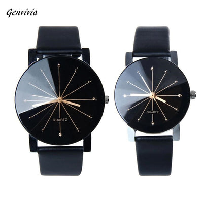GENVIVIA Couple Watch Luxury Brand Watch 2015 New 1Pair Men and Women Quartz Leather WristWatch Lover's Watch relojes&reloj