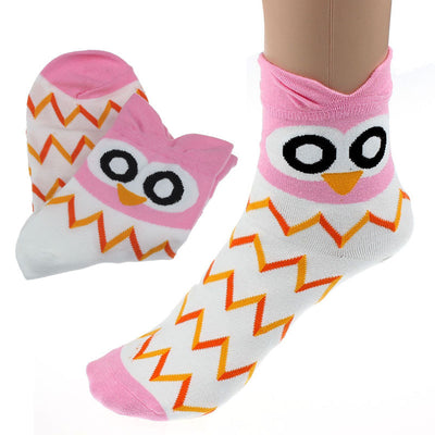 Cool Cartoon Owl Design Socks Outdoor Women and Girls Cotton