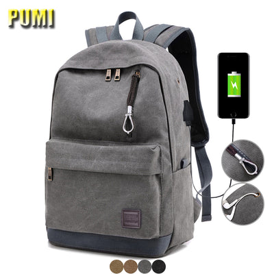 External USB Charge Canvas Backpack Notebook Computer Bag Men Women Waterproof Laptop Backpack College Student Bag for Teenagers