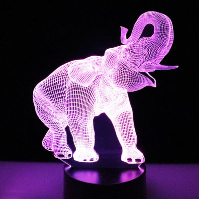 MYDKDJL 3D LED Night Light Dance Elephant with 7 Colors Light for Home Decoration Lamp Amazing Visualization Optical Illusion