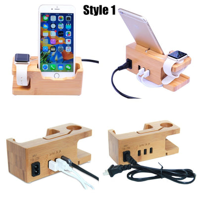 Copy of Smartphone Charging Dock Station for Iphone 8 7 7 Plus 6 6S Plus 5S SE Wooden Stand Holder with Charger For Apple Watch Stand