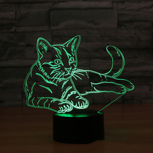 3D LED Mood Lamp - Curious Cat