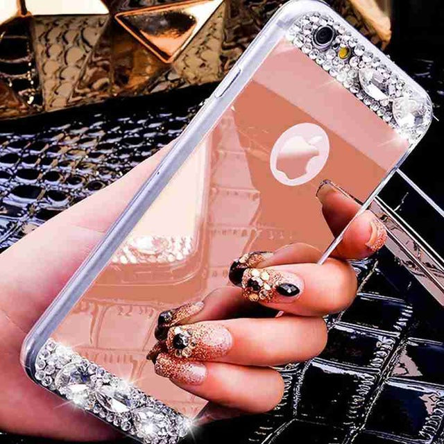 OLOEY for Coque iPhone 5S 6S 6 7 8 Plus X Funda Diamond Glitter Mirror Soft TPU Silicone Case Cover for iPhone 5 6 7 8 Plus X SE