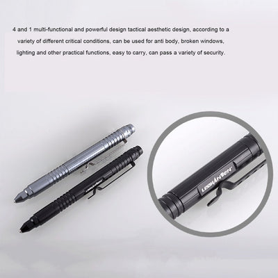 LESHP T9 4-in-1 Multifunctional Tungsten Steel Tactical Pen Tool With LED Flashlight Torch Lamp Self Protection Security