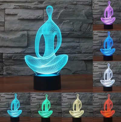 Acrylic Meditation Yoga 3D Optical Illusion Table Light Touch Remote 7 Colors Home Light Bedroom Novelty Kids Gift Night Lamp