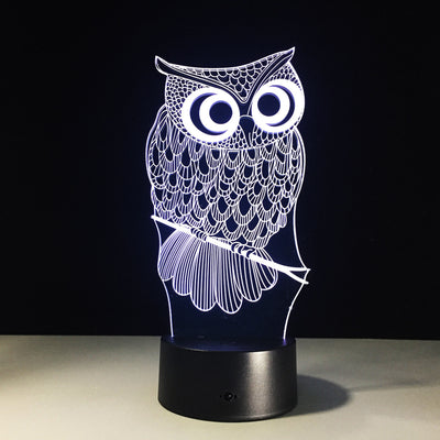 Kawaii Cartoon Owl Light 3D LED Animal Night Light  RGB Changeable Lamp Child Kids Baby Soft Lights Bedroom Decoration Lighting