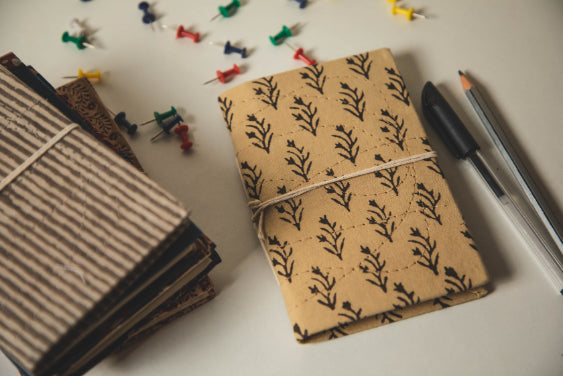 Traditional Hand Block Printed Fabric Journal Notebook - Plant
