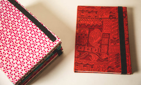 Traditional Hand Block Printed Fabric Hard Cover Notebook - Kalamkari