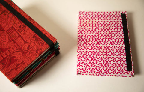Traditional Hand Block Printed Fabric Hard Cover Notebook - Wheels