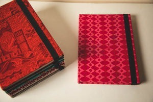 Traditional Hand Block Printed Fabric Hard Cover Notebook - Diamonds