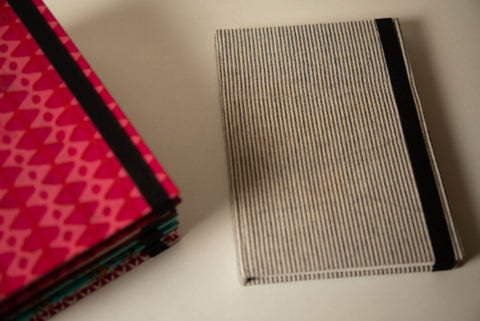 Traditional Hand Block Printed Fabric Hard Cover Notebook - Stripes
