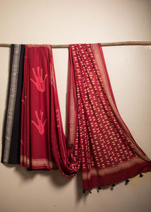 Hand Printes Hand Block Printed Cotton Voile Saree - Red